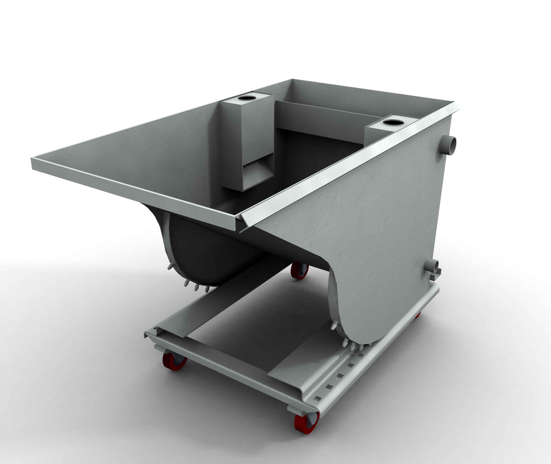 Decanter, cost effective grit dewatering bin