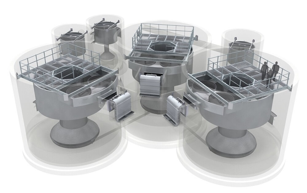 The Storm King® is a CSO treatment system that combines a hydrodynamic vortex separator and a screen
