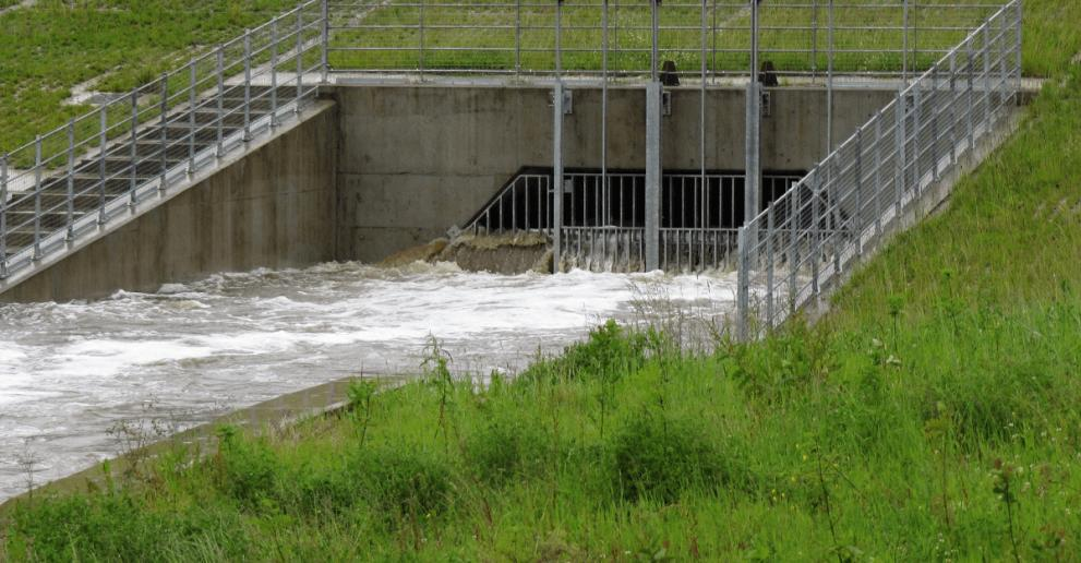 The Hydro-Brake® Flood flow control at Wigan dam under storm conditions
