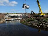 A Hydro-Brake® Flood flow control being installed at the White Cart Water near Glasgow