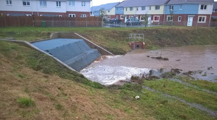 The Limekiln Lane SuDS feature in action following Storm Angus (image copyright John Bellis)